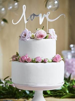Tortes dekors Love, sudraba, 17 cm