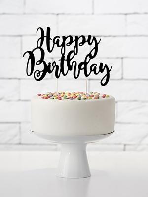 Tortes dekors Happy Birthday, melns, 22.5 cm