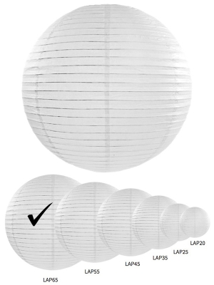 Papīra laterna, balta, 65 cm