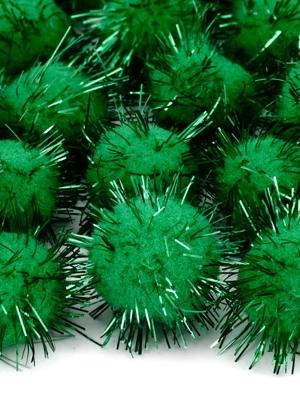 20 gab, Plīša pomponi, smaragdzaļi, 2 cm