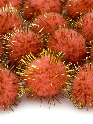 20 gab, Plīša pomponi, oranži, 2 cm