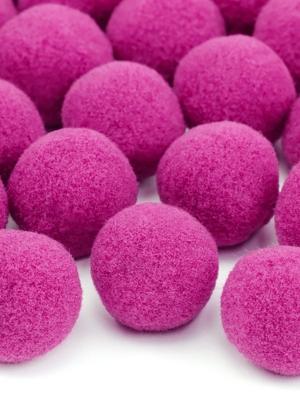 20 gab, Plīša pomponi, tumši rozā, 2 cm