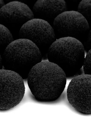 20 gab, Plīša pomponi, melni, 2 cm
