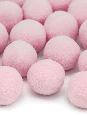 20 gab, Plīša pomponi, gaiši rozā, 2 cm