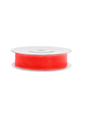 Šifona lente, neona sarkan-oranža, 12 mm x 25 m
