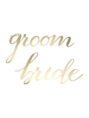 2 gab, Dekorācija Bride un Groom, zelta, 37 x 17 cm