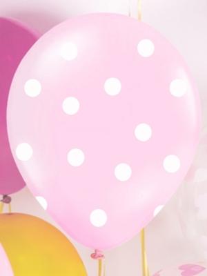 6 gab, Punktoti  baloni, gaiši rozā ar baltu, 30 cm