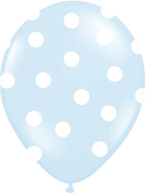 6 gab, Punktoti baloni, gaiši zils ar baltu, 30 cm