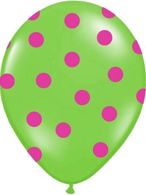 6 gab, Punktoti baloni, zaļš ar rozā, 30 cm