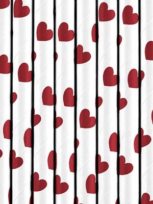 10 gab, Salmiņi, balti ar sarkanām sirdīm, 19.5 cm