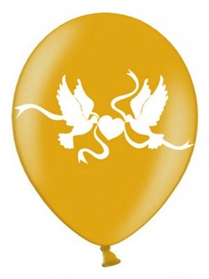 Balons ar dūjām, zelta ar baltu, 30 cm