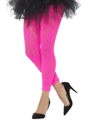 Mežģīņu legingi, neona rozā