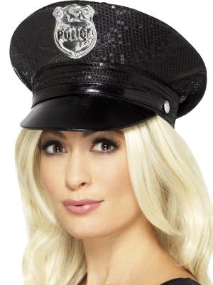 Vizuļojoša policista cepure, melna
