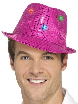LED Vizuļojoša cepure, rozā