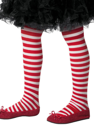Strīpainas zeķubikses, sarkanas ar baltu, (6-12 gadi)
