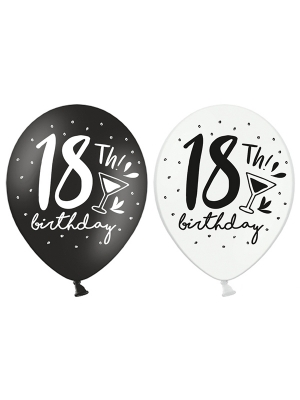 Balons 18th! Birthday, melni un balti, 30 cm