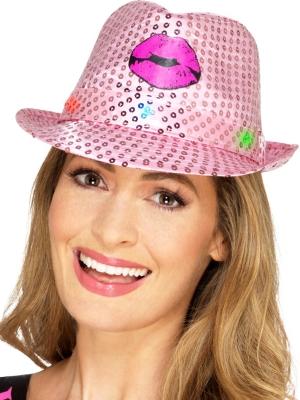 Vizuļojoša cepure ar LED gaismām, rozā