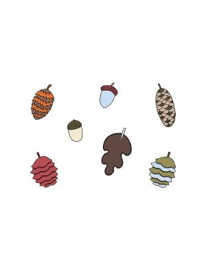 7 gab, Papīra dekorācijas Meža kolekcija, čiekuri, lapas un zīles