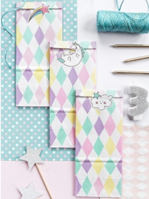 6 gab, Papīra maisiņi, Unicorn, 8 x 18 x 6 cm