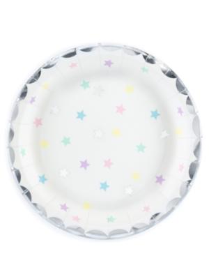 6 gab, Papīra šķīvīši balti ar zvaigznēm, 18 cm