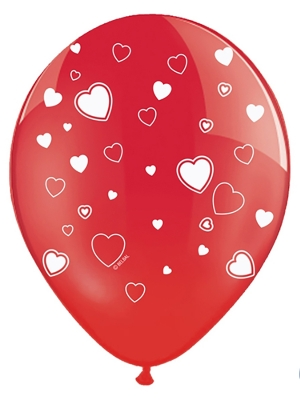 Balons ar sirdīm, caurspīdīgs magoņu sarkans, 30 cm