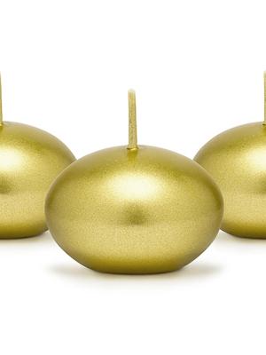 Peldoša svece, metāliski zelta, 4 cm