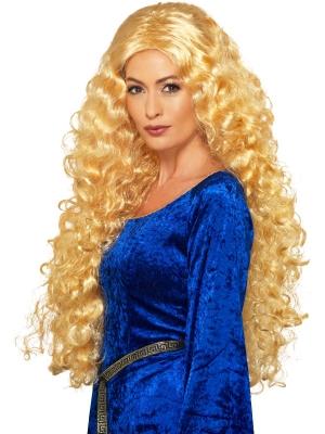 Viduslaiku karalienes parūka, blonda
