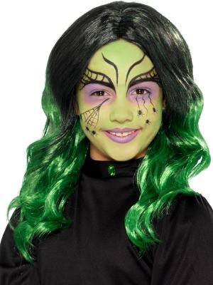 Raganas parūka, melna ar zaļo