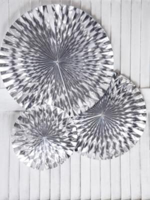 3 gab, Dekoratīvās rozetes, sudraba, 40, 32, 23 cm