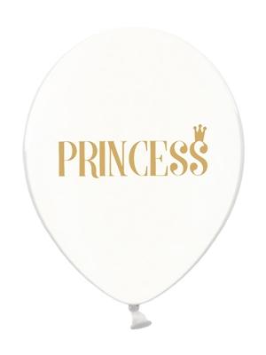 Balons Princess, caurspīdīgi ar zelta, 30 cm