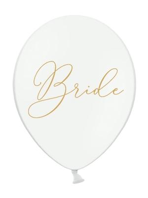 Balons Bride, balts ar zeltu, 30 cm