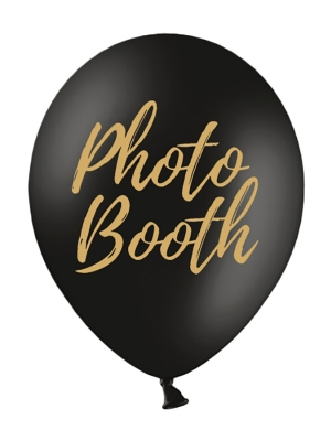 Balons Photo Booth, melns ar zeltu, 30 cm