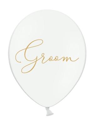 Balons Groom, balts ar zeltu, 30 cm