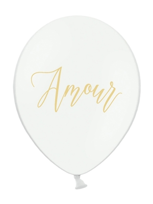 Balons Amour, balts ar zeltu, 30 cm