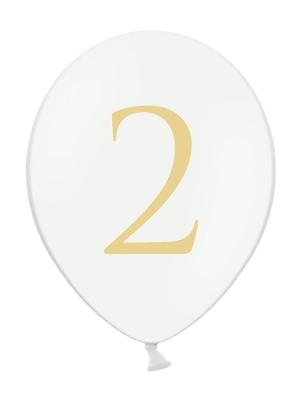 Balons ar skaitli 2, balts, 30 cm