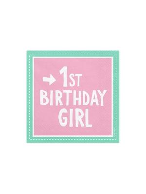 20 gab, Salvetes 1st Birthday Girl, rozā ar piparmētru, 33 x 33 cm