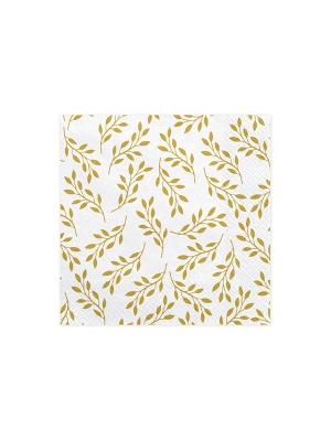 20 gab, Salvetes zari ar lapām, baltas ar zeltu, 33 x 33 cm