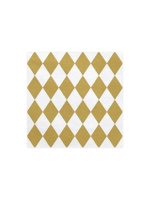 20 gab, Salvetes Arlekīna, baltas ar zeltu, 33 x 33 cm