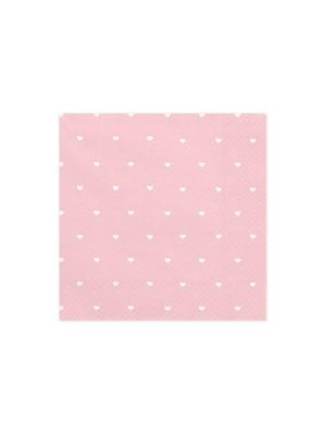 20 gab, Salvetes mazas sirdis, gaiši rozā, 33 x 33 cm