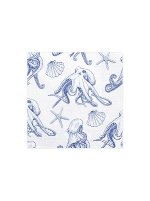 20 gab, Papīra salvetes Ahoy - astoņkāji, baltas, 33 cm x 33 cm