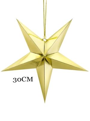 Papīra zvaigzne, zelta, 30 cm