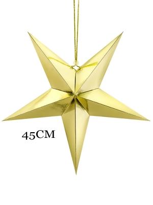 Papīra zvaigzne, zelta, 45 cm