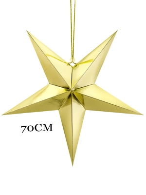 Papīra zvaigzne, zelta, 70 cm