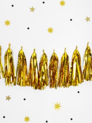 12 pušķu virtene, zelta, 30 x 150 cm