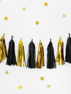12 pušķu virtene, zelts ar melnu, 30 cm x 150 cm