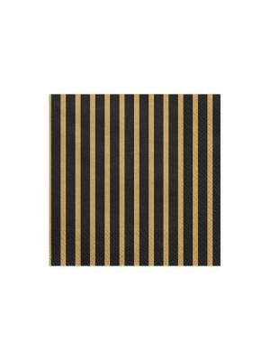 20 gab, Salvetes svītras, melnas ar zeltu, 33 x 33 cm