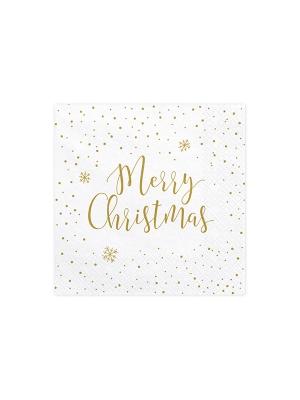20 gab, Salvetes Priecīgus Ziemassvētkus, baltas, 33 x 33 cm
