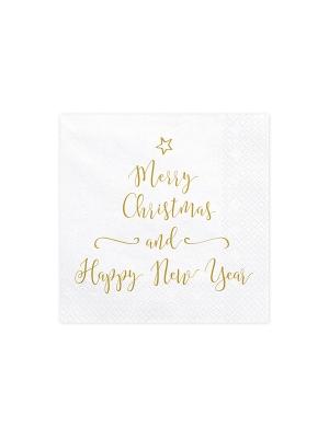 20 gab, Salvetes Priecīgus Ziemassvētkus un laimīgu Jauno gadu, baltas, 33 x 33 cm