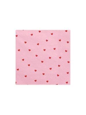 20 gab, Salvetes sirdis, gaiši-rozā, 33 x 33 cm