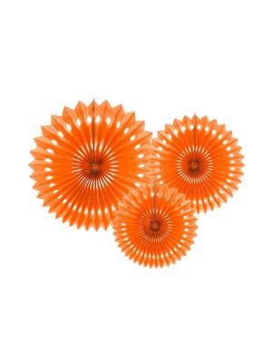3 gab, Dekoratīvās rozetes, oranžas, 20, 25, 30 cm